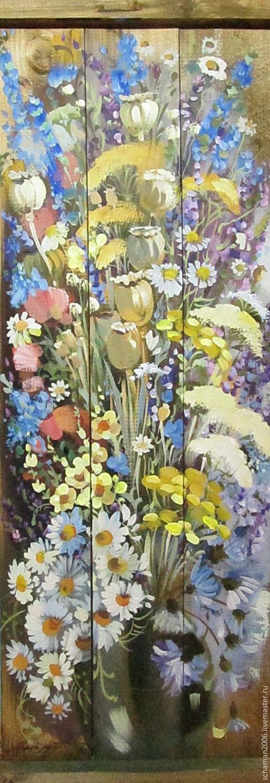 Картины цветов ручной работы. Ярмарка Мастеров - ручная работа. Купить Доска, масло, 70 х 26 см, Полевые цветы. Handmade.