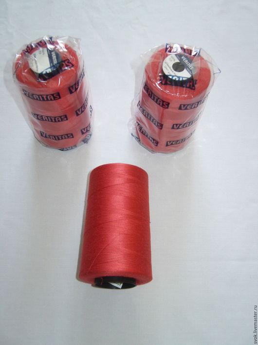 Шитье ручной работы. Ярмарка Мастеров - ручная работа. Купить Нитки швейные VERITAS , 40S/2, 5000 ярдов, красные, большая бобина. Handmade.