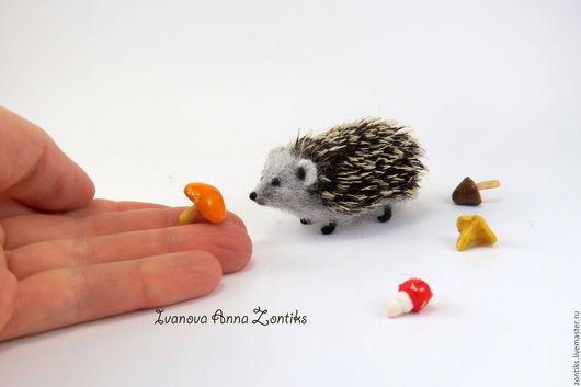 Миниатюра ручной работы. Ярмарка Мастеров - ручная работа. Купить Ежик миниатюра. Handmade. Ежик, ежик из шерсти, сувенир ежик