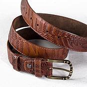 Аксессуары handmade. Livemaster - original item Red brown leather Belt for Women 1.3 inches wide.. Handmade.