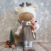 Большеножка ручной работы. Ярмарка Мастеров - ручная работа Новогодняя текстильная кукла Олененок. Handmade.
