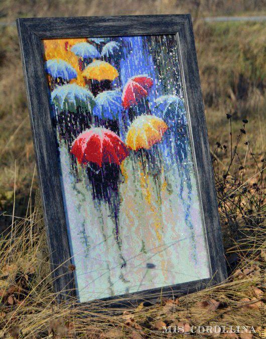 Абстракция ручной работы. Ярмарка Мастеров - ручная работа. Купить Под дождём. Handmade. Разноцветный, стильная картина, алмазная мозаика