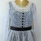 Одежда handmade. Livemaster - original item 135 dress knitted white feather, clothing. Handmade.