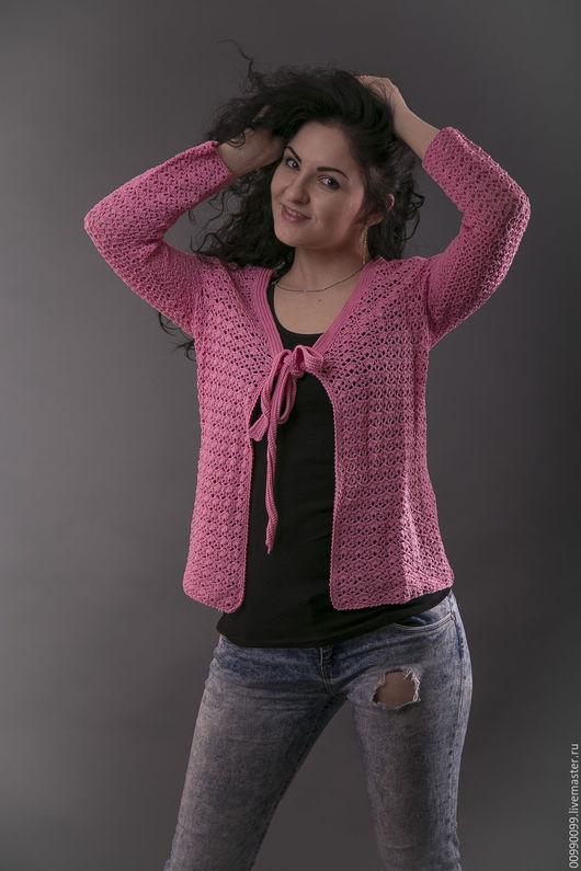 Пиджаки, жакеты ручной работы. Ярмарка Мастеров - ручная работа. Купить Ажурный жакет крючком. Handmade. Розовый, жакет крючком