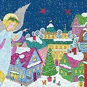 Картины и панно handmade. Livemaster - original item Angel above the city. Christmas story. painting for the house. Handmade.