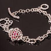 Браслет из бусин ручной работы. Ярмарка Мастеров - ручная работа Серебряный браслет с рубином. Handmade.