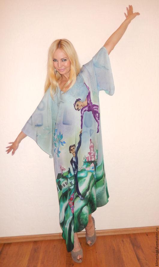 Платья ручной работы. Ярмарка Мастеров - ручная работа. Купить платье -Прогулка(Шагал). Handmade. Голубой, платье, большие размеры