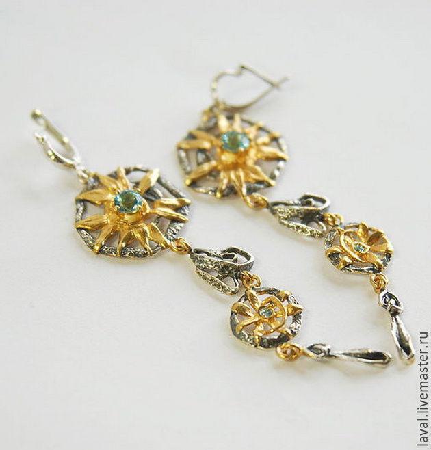 'The longest day' - earrings with gold, Earrings, Kurgan,  Фото №1