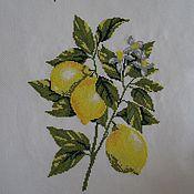 """Картины и панно ручной работы. Ярмарка Мастеров - ручная работа Вышивка крестом """"Лимоны"""". Handmade."""