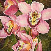 """Картины и панно ручной работы. Ярмарка Мастеров - ручная работа Батик """"Розовая орхидея"""". Handmade."""