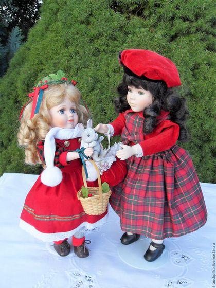 Винтажные куклы и игрушки. Ярмарка Мастеров - ручная работа. Купить Винтажные куклы композиция Накануне Рождества. Handmade. Подарок девушке