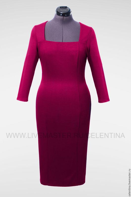 платье футляр, стильное платье, платье в офис, трикотажное платье, платье на каждый день, повседневное, однотонное, короткое платье, деловое платье, платье футляр фуксия, теплое платье, 17 расцветок!