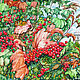 Картины цветов ручной работы. Ярмарка Мастеров - ручная работа. Купить Калина. Handmade. Комбинированный, калина, Калина красная, зеленый