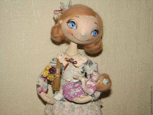 """Коллекционные куклы ручной работы. Ярмарка Мастеров - ручная работа. Купить Авторская кукла """"Маша с малышом"""". Handmade. Мятный"""