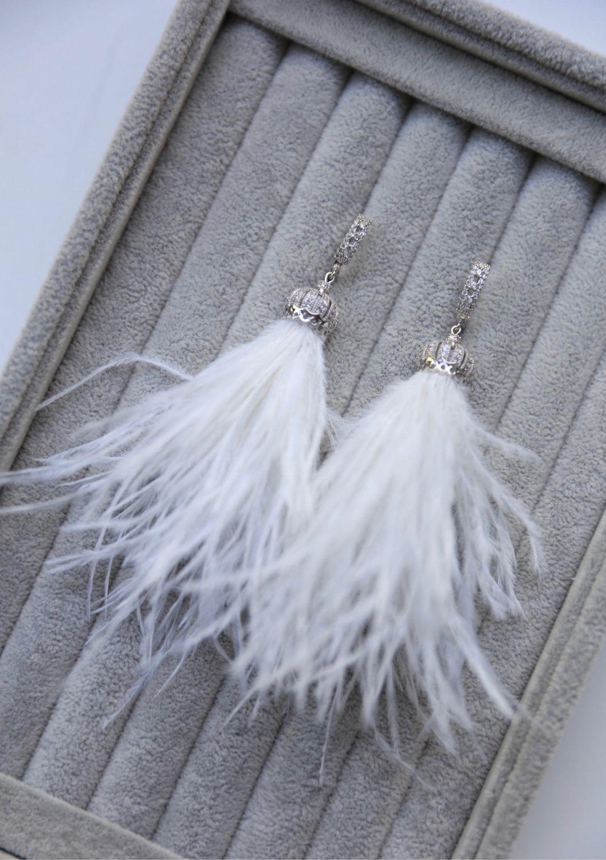 Feather earrings white with cubic Zirconia, handmade wedding earrings, Earrings, St. Petersburg,  Фото №1