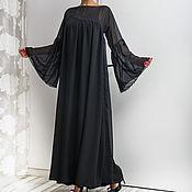 Одежда ручной работы. Ярмарка Мастеров - ручная работа Черное шифоновое вечернее длинное макси платье, кафтан большие размеры. Handmade.