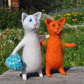 Куклы и игрушки ручной работы. Ярмарка Мастеров - ручная работа игрушки из шерсти недомашние котики Сами мы не местные. Handmade.