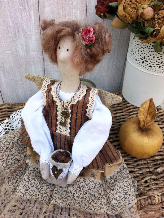 Куклы Тильды ручной работы. Ярмарка Мастеров - ручная работа. Купить Текстильная интерьерная кукла в стиле тильда. Кофейная феечка. Handmade.