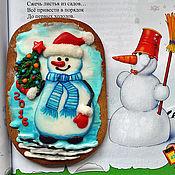 Сувениры и подарки ручной работы. Ярмарка Мастеров - ручная работа Пряники имбирные. ПРЯНИКИ НОВОГОДНИЕ Овал Снеговик с елкой. Handmade.