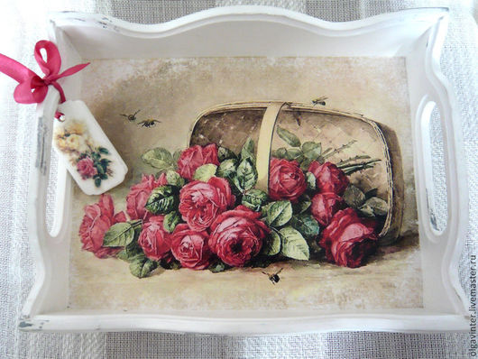 """Кухня ручной работы. Ярмарка Мастеров - ручная работа. Купить Поднос """"Розы для подруги."""". Handmade. Белый"""