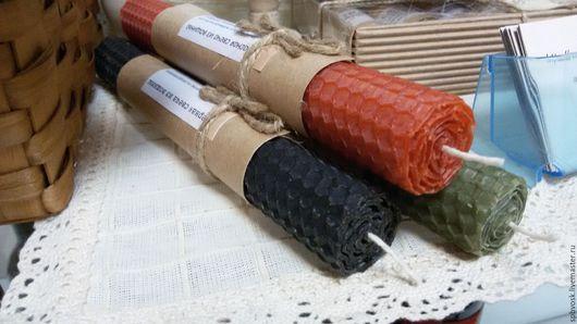 Фен-шуй ручной работы. Ярмарка Мастеров - ручная работа. Купить Цветные свечи из вощины 13/20см. Handmade. Комбинированный, медитация