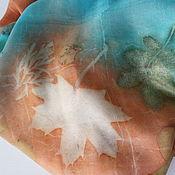 Аксессуары ручной работы. Ярмарка Мастеров - ручная работа шарф шелковый ручного окрашивания Шоколад и Бирюза. Handmade.