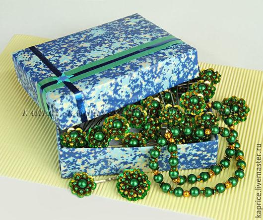 Комплект украшений из 30 предметов цвет зелёный с золотом