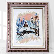 Картины ручной работы. Ярмарка Мастеров - ручная работа Вышивка крестом Зима в Бергене. Handmade.