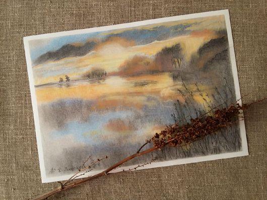 Пейзаж ручной работы. Ярмарка Мастеров - ручная работа. Купить Картина пастелью Утро туманное. Handmade. Серый, голубой, природа
