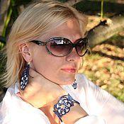 Украшения ручной работы. Ярмарка Мастеров - ручная работа Кружевной браслет «Таинственный цветок» (тёмно-синий, серебристый). Handmade.