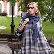 Одежда ручной работы. Ярмарка Мастеров - ручная работа Платье в сине-розовую клетку из шерсти art.86i. Handmade.