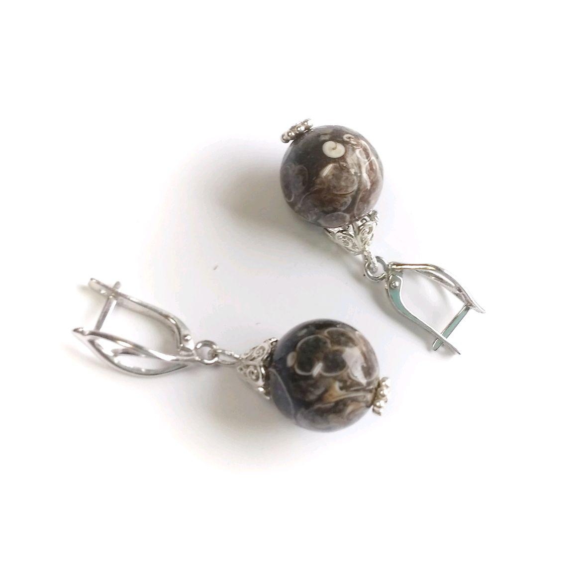Серебряные серьги с черепаховым агатом, Серьги классические, Железногорск-Илимский,  Фото №1