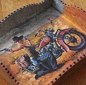 """Для дома и интерьера ручной работы. Ярмарка Мастеров - ручная работа Поднос маленький """"Девушка с мотоциклом"""". Handmade."""