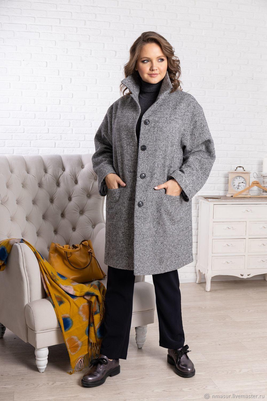 Шерстяное пальто серое в ёлочку – купить на Ярмарке Мастеров – KZWKERU | Пальто, Новосибирск