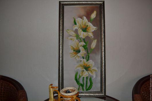 Картины цветов ручной работы. Ярмарка Мастеров - ручная работа. Купить Букет из лилий. Handmade. Золотой, яркая картина