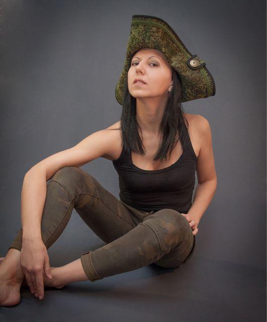 Шляпы ручной работы. Ярмарка Мастеров - ручная работа. Купить Шляпа треуголка милитари. Handmade. Шляпа, летняя шляпа, зелёный