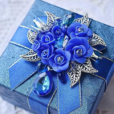 Украшения ручной работы. Ярмарка Мастеров - ручная работа Синяя брошь в технике плетения Вальс цветов. Handmade.