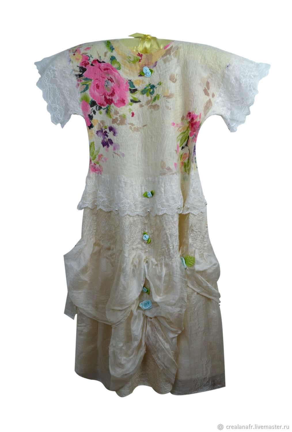 Felted light dress for girls made of natural silk and silk chiffon, Childrens Dress, Mulhouse,  Фото №1