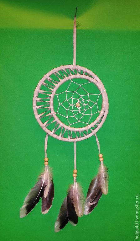 """Ловцы снов ручной работы. Ярмарка Мастеров - ручная работа. Купить """"шаманы севера"""". Handmade. Белый, кожа, плетение, двойной"""