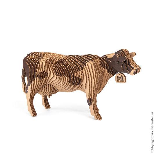 Развивающие игрушки ручной работы. Ярмарка Мастеров - ручная работа. Купить 3D-ПАЗЛ «Корова». Handmade. Комбинированный, развивайка, корова