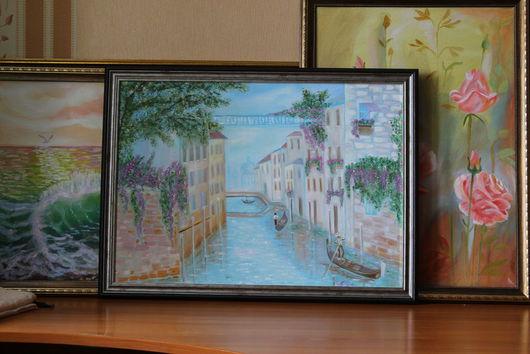 Город ручной работы. Ярмарка Мастеров - ручная работа. Купить Венеция. Прогулка по каналам.. Handmade. Голубой, бежевый, картина, подарок