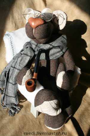 """Куклы и игрушки ручной работы. Ярмарка Мастеров - ручная работа. Купить мишка""""Шерлок Холмс"""". Handmade. Шерсть 100%, клетка"""