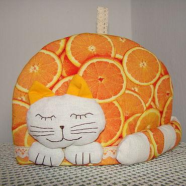"""Посуда. Ярмарка Мастеров - ручная работа Грелки на чайник: """"Апельсиновый кот"""". Handmade."""