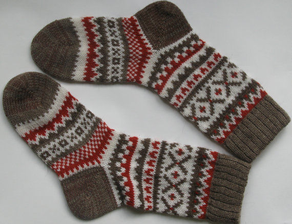 "Knitted wool socks ""Puppy"" grey white red, Socks, St. Petersburg,  Фото №1"