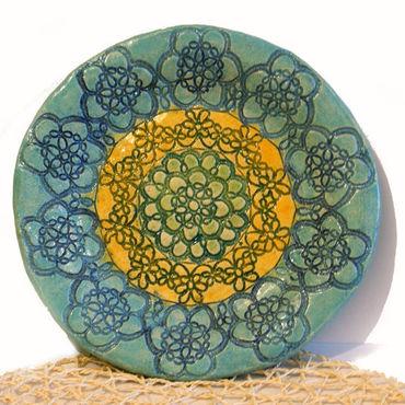 Посуда ручной работы. Ярмарка Мастеров - ручная работа Большое керамическое блюдо или настенное панно Бирюзовое кружево. Handmade.