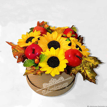 """Косметика ручной работы. Ярмарка Мастеров - ручная работа """"Подсолнухи"""" мыло сувенирное подарок цветы букет осенний. Handmade."""