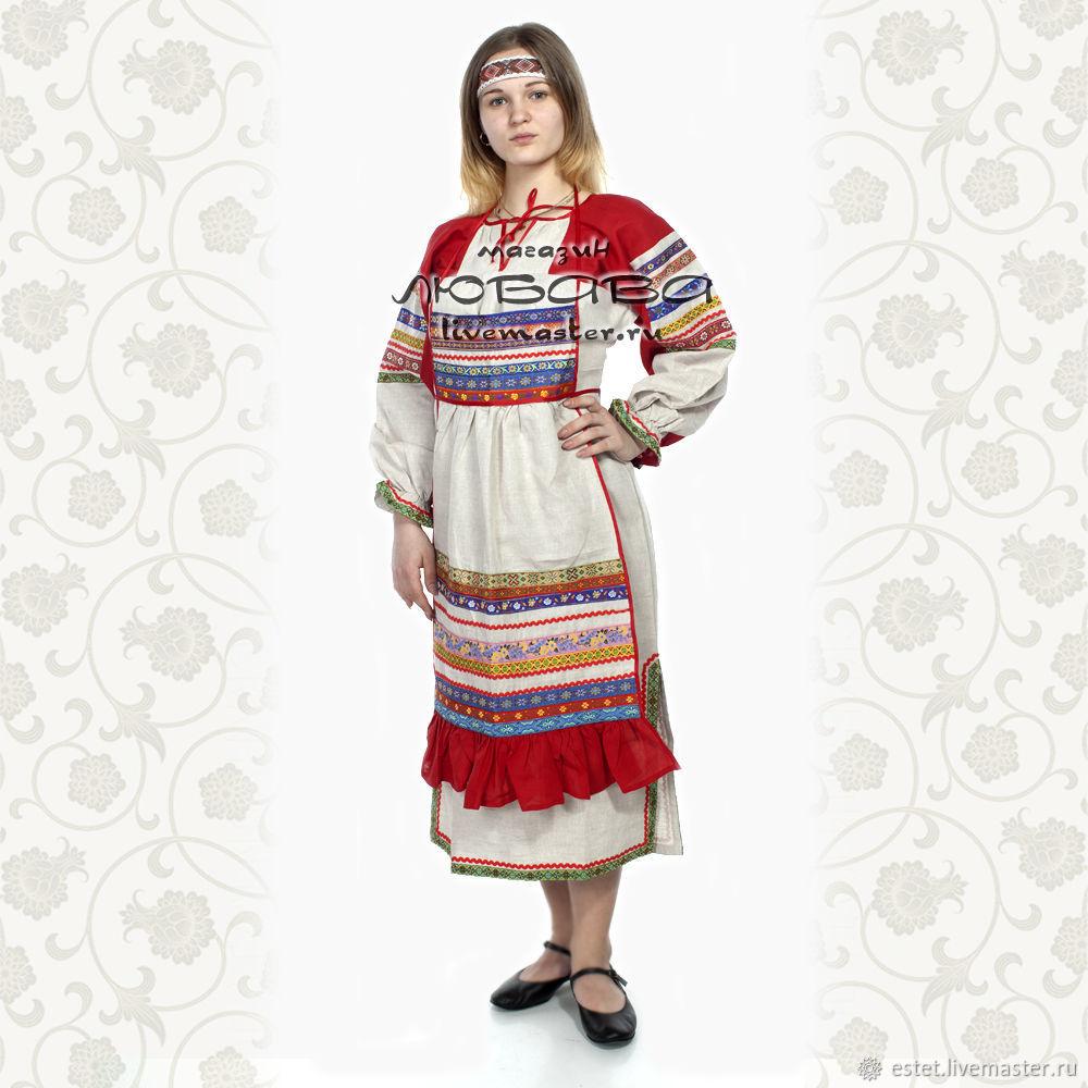 """Рубаха с фартуком """"Варя"""", лен, Народные платья, Королев,  Фото №1"""