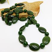Работы для детей, handmade. Livemaster - original item Beads of jade Green dragon 62 cm. Handmade.