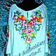 Dress embroidered linen 'Pansies', Dresses, Zaporozhye,  Фото №1