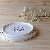 """Посуда ручной работы. Ярмарка Мастеров - ручная работа Набор тарелок """"Морской путь"""". Handmade."""